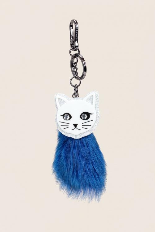 Karl Lagerfeld - Portes-clefs choupette en fourrure bleu