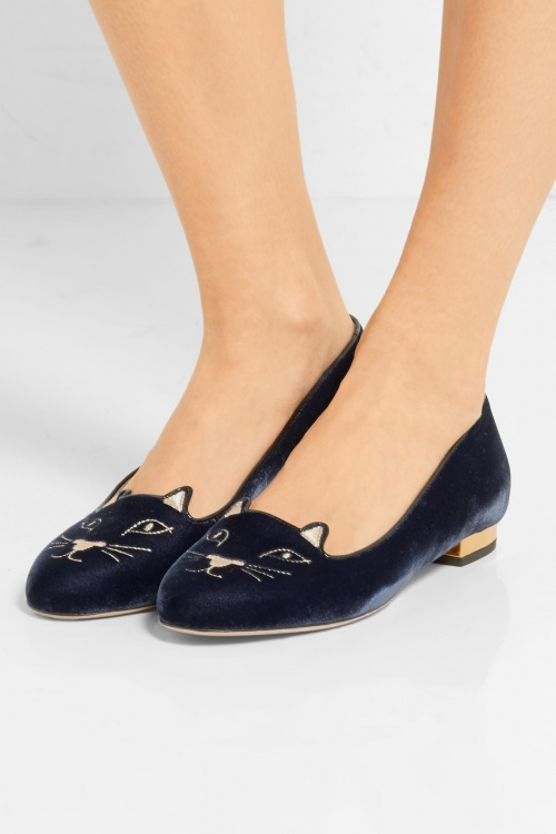 Charlotte Olympia - Slippers en velours brodé chat