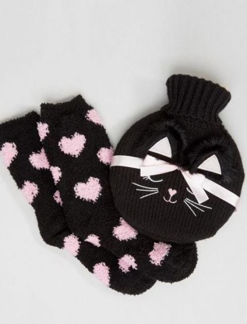Asos - Ensemble bouillotte et chaussettes douillettes chat
