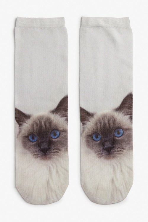 Monki - Socquettes blanches chat