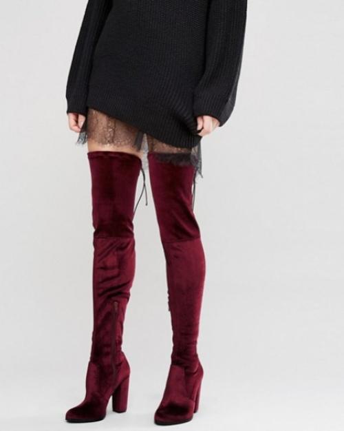 Asos - Cuissardes rouges velours