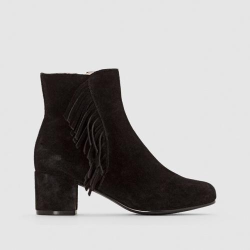 La Redoute -  Boots en cuir suédé à talon
