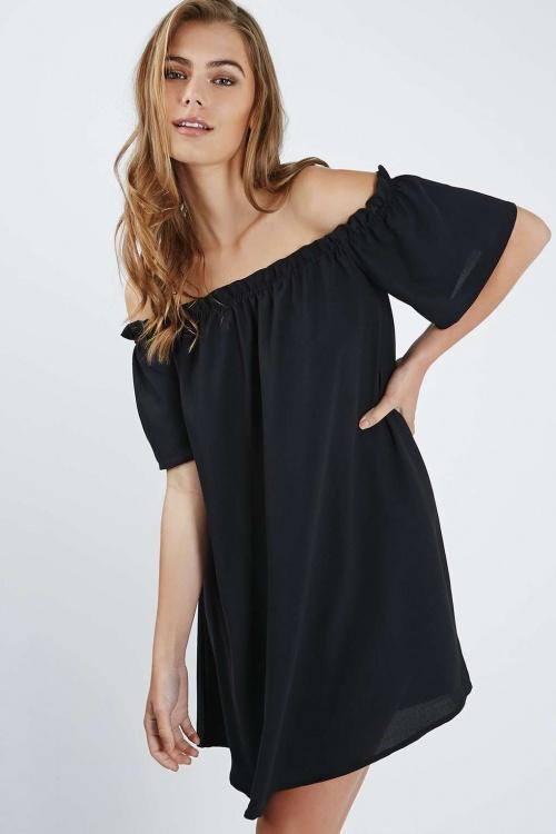 Topshop - robe à épaules nues noire