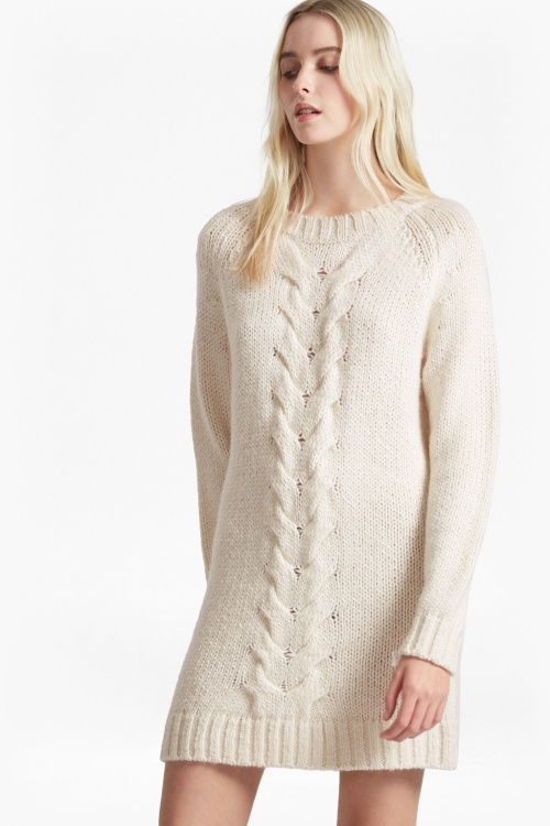 French Connection - Robe en pull crème