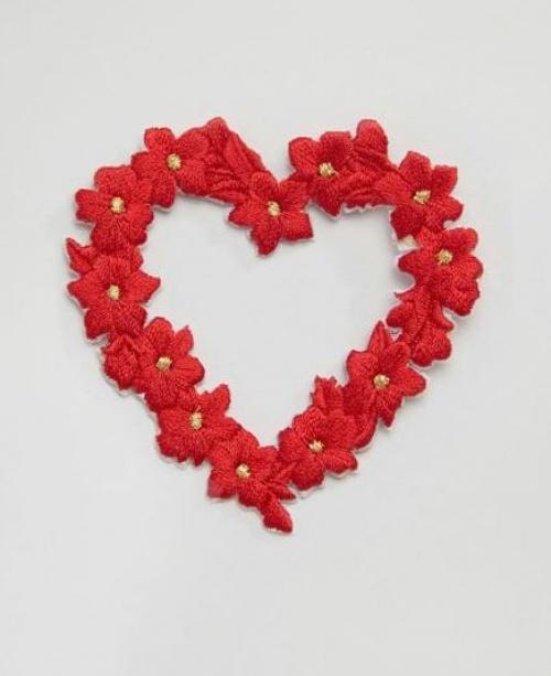 Orelia - Écusson brodé motifs cœur et fleur