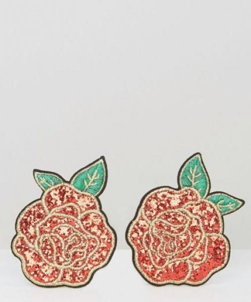 Skinnydip - Écussons roses avec sequins