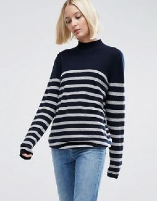 Asos White - pull col roulé à rayures