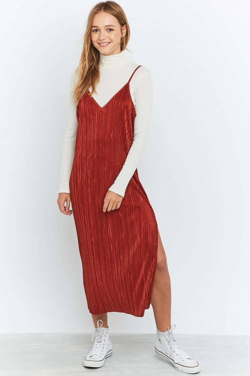 Urban Renewal Vintage Remnants - robe midi plissée rouille