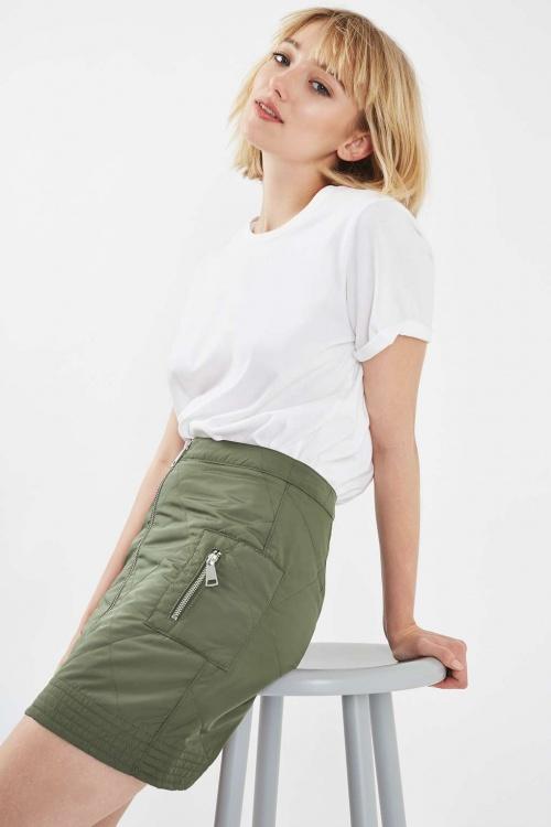 Topshop mini jupe vert kaki matelassée
