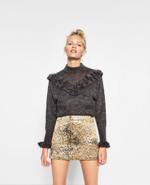 Zara mini jupe or texturé