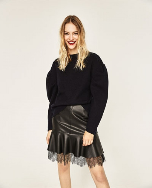 Zara mini jupe cuir ourlet dentelle