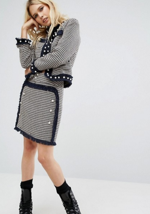 Sister Jane mini jupe tweed et boutons