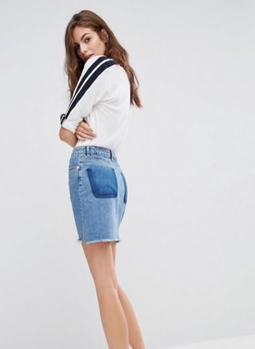 Asos mini jupe jean poche transparence