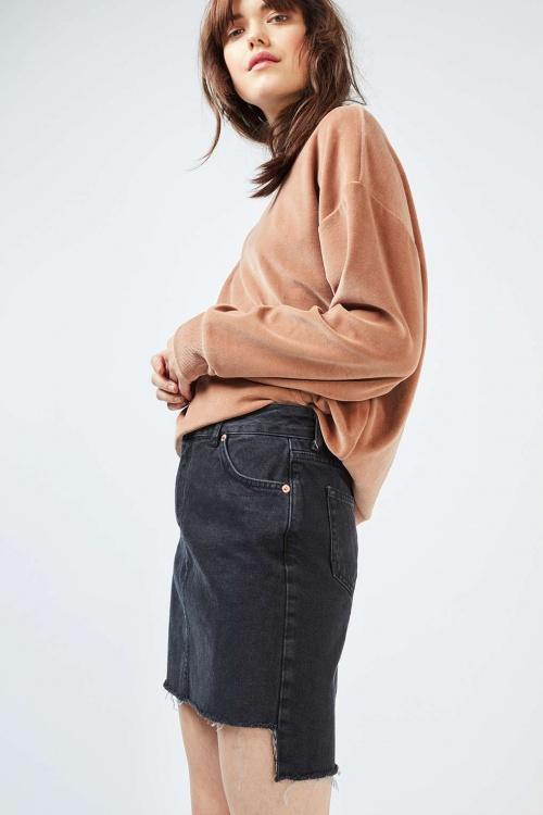 Topshop mini jupe jean asymétrique