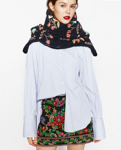 Zara  mini jupe brodée