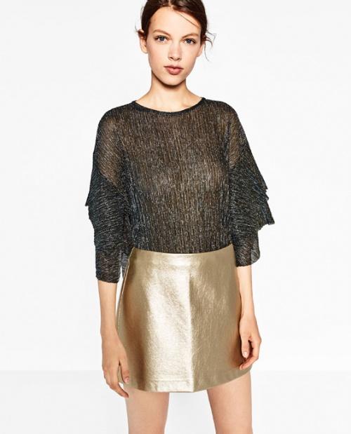Zara mini jupe dorée