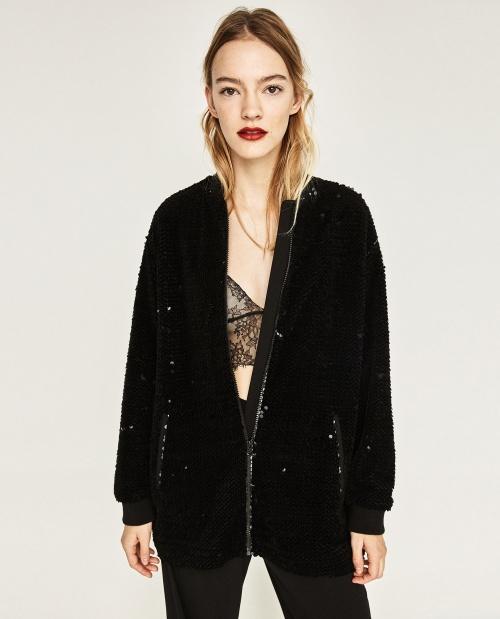 Zara - Bombers noir en sequin noir