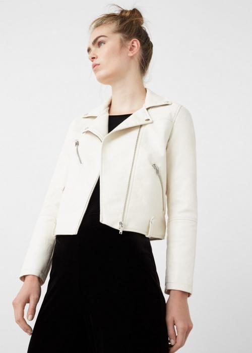 Mango veste cuir blanche
