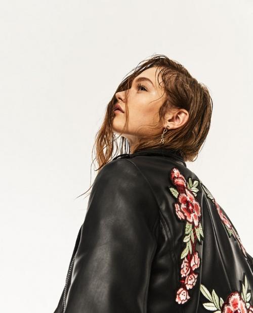Zara veste cuir fleur brodée