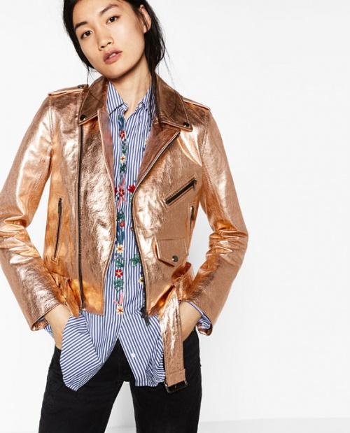 Zara  veste cuir metallisée or rose