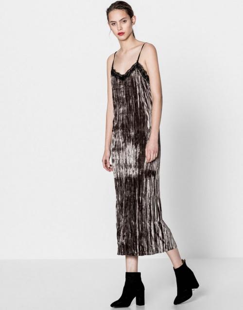 Pull & Bear -  robe nuisette longue métallisée