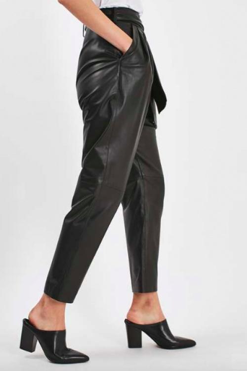 Topshop - Pantalon carotte en cuir