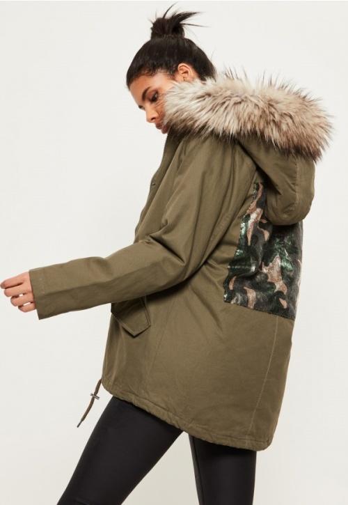 Missguided - Parka avec détail vert camouflage au dos