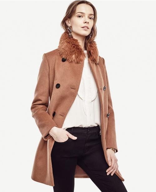 Ann Taylor - manteau long à col en fourrure