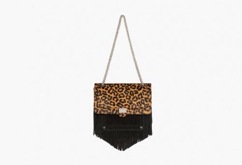 Claudie Pierlot - Sac pochette leopard avec franges