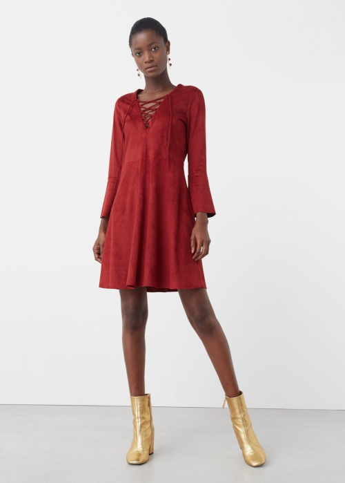 Mango - Robe rouge à manches cloches