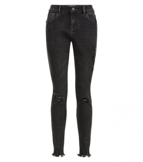New Look - jean slim frangé
