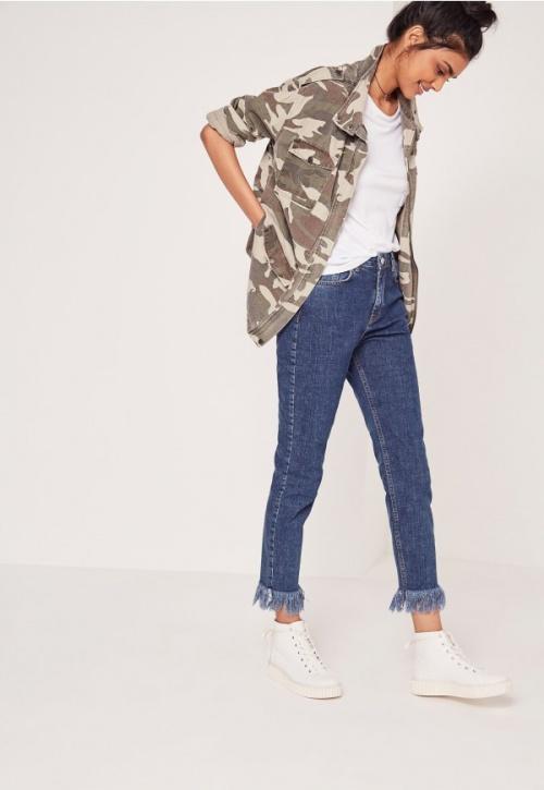 Missguided - jean slim frangé