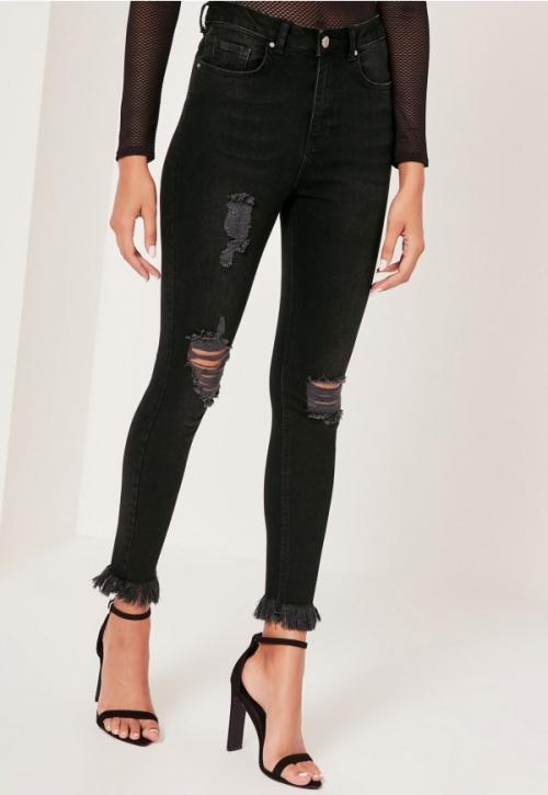 Missguided - jean skinny destroy frangé