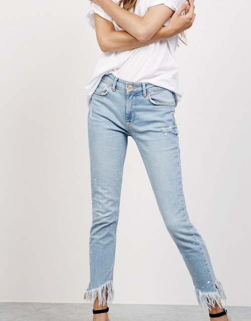 Bershka - jean skinny frangé