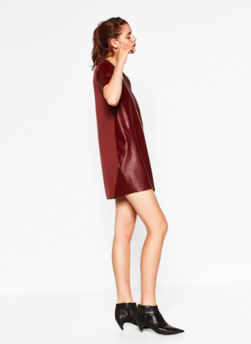 Zara - Robe bordeaux recto en cuir et verso en tissu
