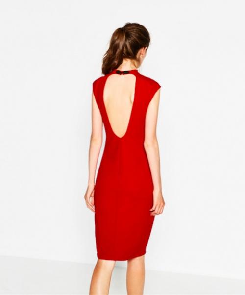 Zara - Robe avec col mao et ouverture dos
