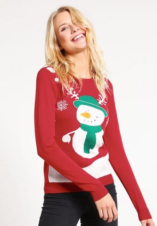 Only - Pullover rouge bonhomme de neige