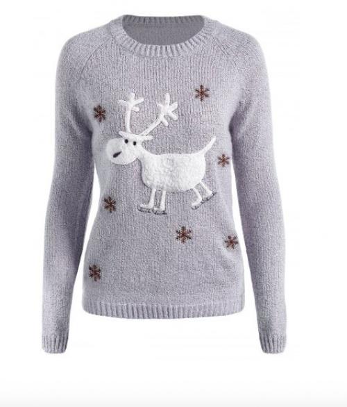 Rose Gal - Pull gris brodé cerf de Noël et flocons de neige
