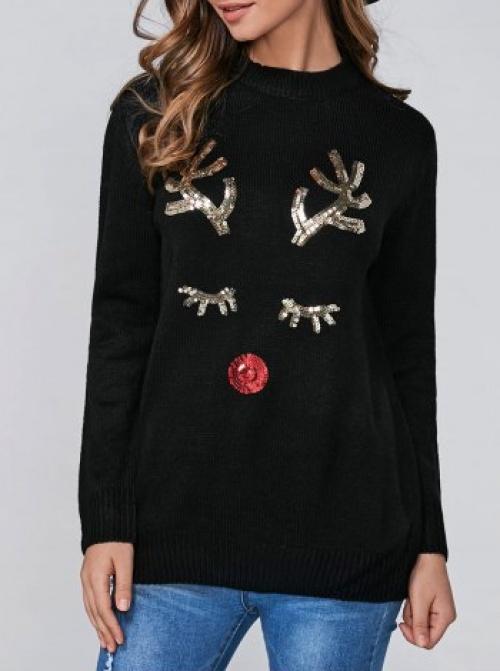 Rose Gal - Pull noir cerf en paillettes