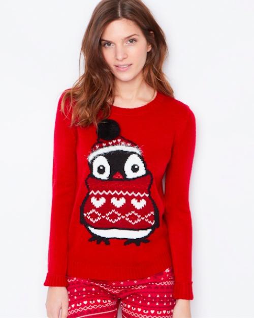Etam - Pull rouge pingouins