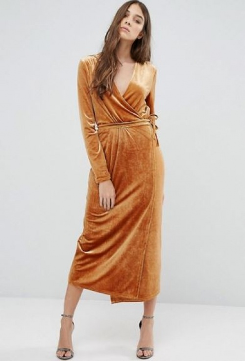 Vila - robe longue cache-coeur en velours