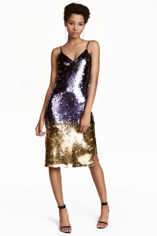H&M - robe mi-longue pailletée