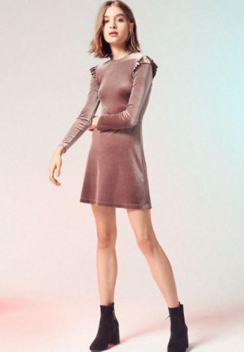 Bershka - robe mini velours et volants