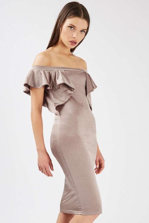 Top Shop - robe mi-longue à volants épaules nues