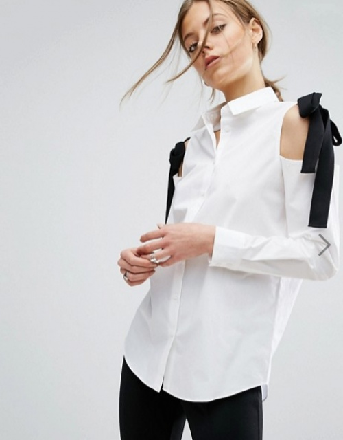 Asos chemise à noeud épaule noir