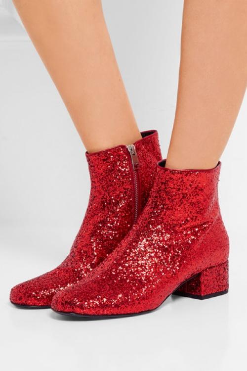 Saint Laurent - boots rouges pailletées