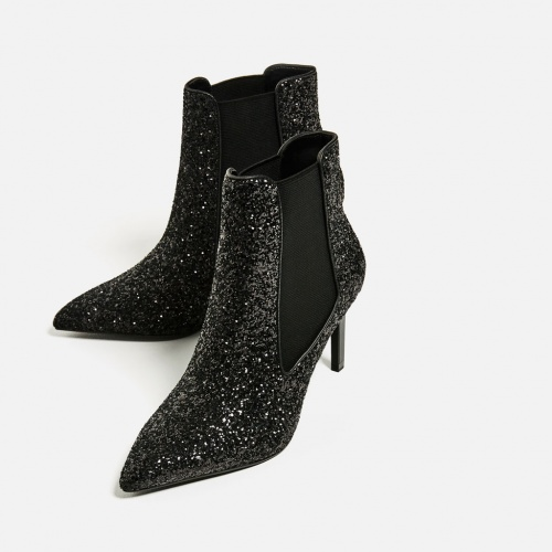 Zara - bottines pailletées à talon