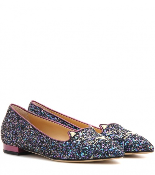 Charlotte Olympia - ballerines chat pailletées