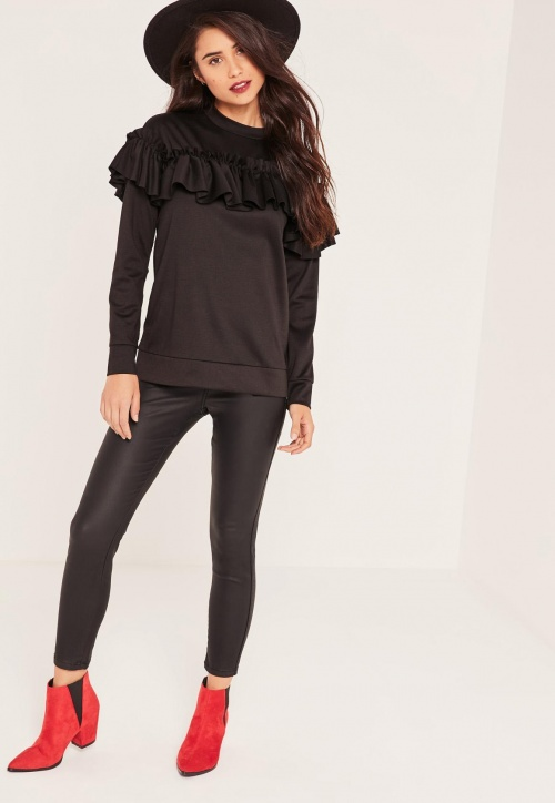 Missguided - Sweat noir légèrement satiné
