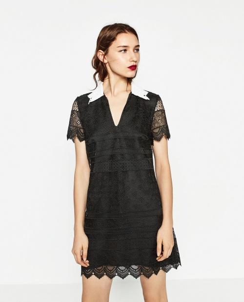 Zara - Robe dentelle avec col blanc